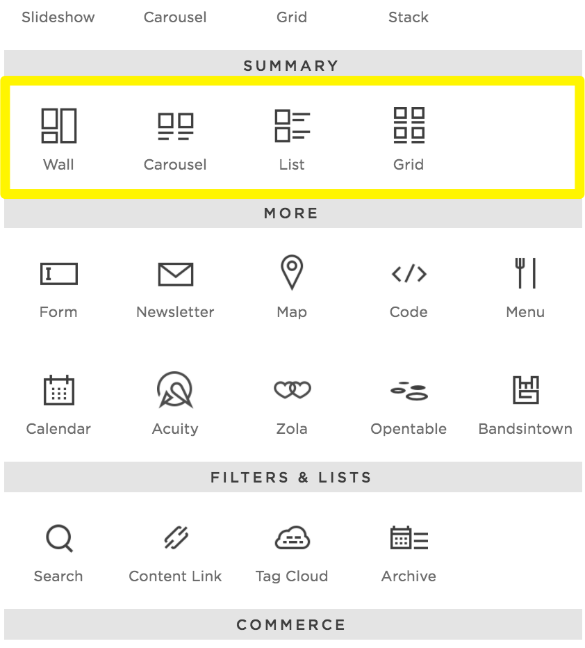 Summary Blocks – Squarespace Help
