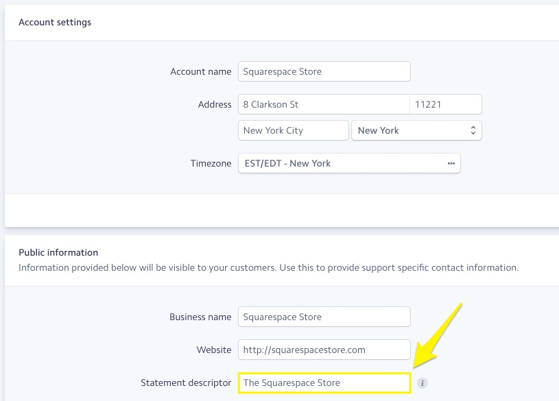 Adding a statement descriptor in Stripe – Squarespace Help
