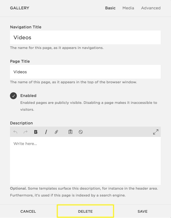 squarespace help deleting a page
