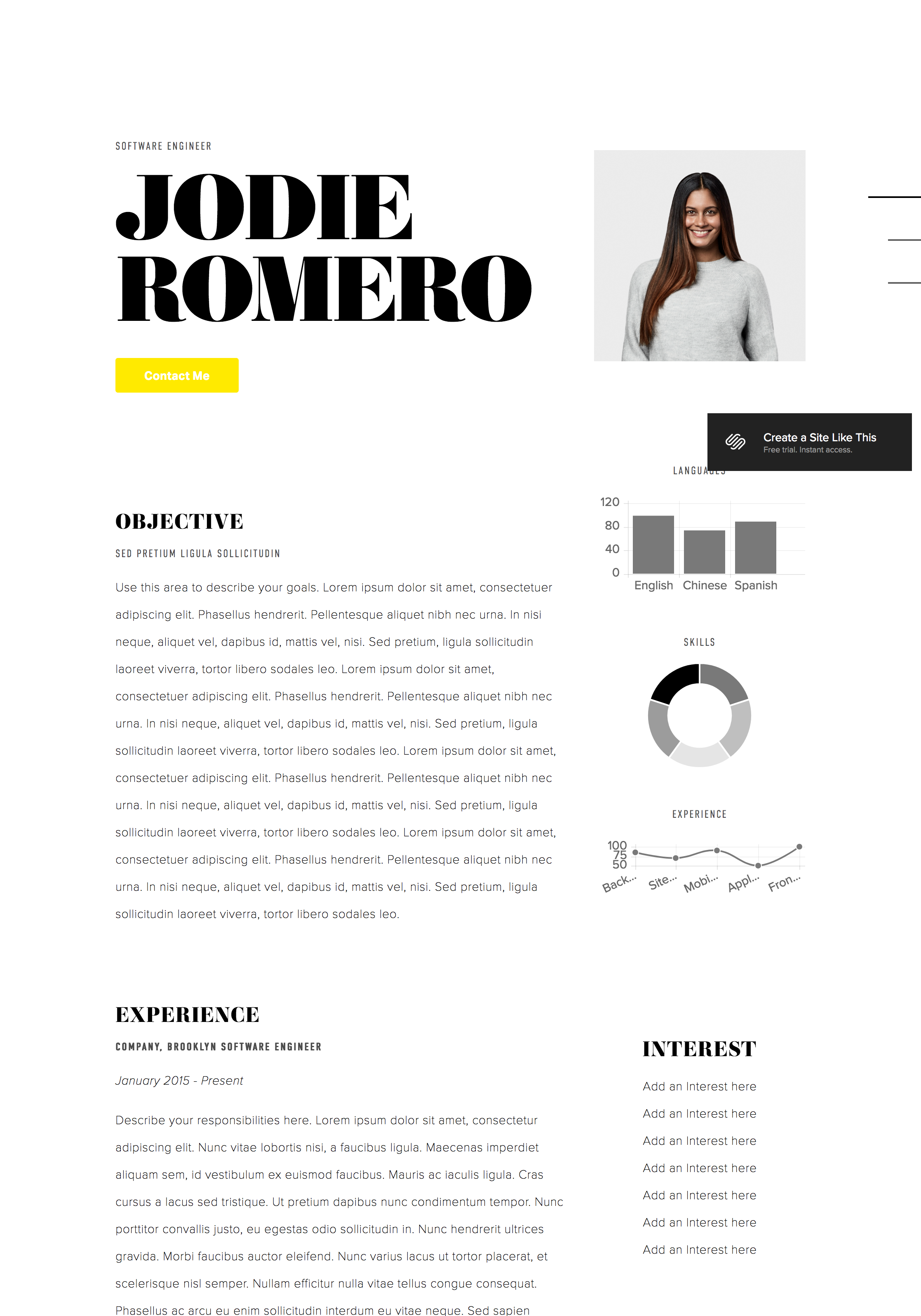 displaying your resume on your site squarespace help