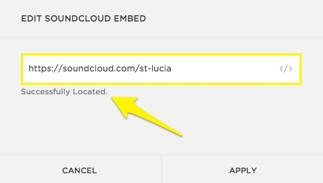 Successfully Located appears after adding an embeddable URL to the SoundCloud Block.