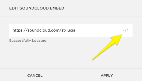 Click the embed icon to add the SoundCloud embed code.