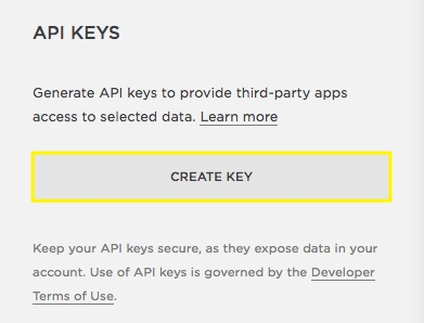 Click Create Key to generate your unique API key.