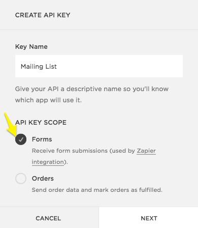 Finestra Crea chiave API.