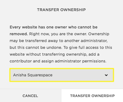 Changing site ownership squarespace help healthylivingg spiritdancerdesigns Image collections