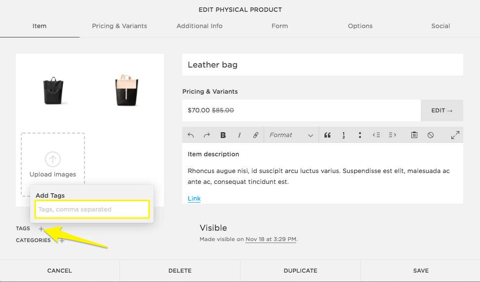 29423e215 Organizing products – Squarespace Help