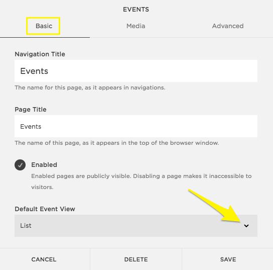Die Event-Seite benutzen – Squarespace