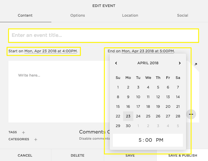 using the events page squarespace help