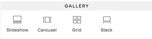 Opzioni Blocco galleria nel menu del blocco.