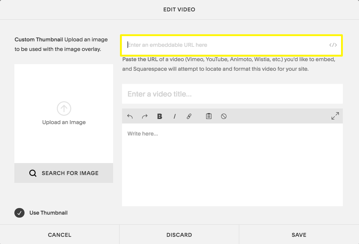 Enter the URL in the Edit Video window, or click the code icon to use an embed code.