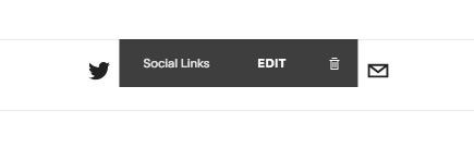 A Social Links annotation appears when hovering over Social Links Blocks.