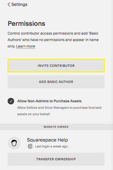 The Invite Contributor button in the Settings panel.