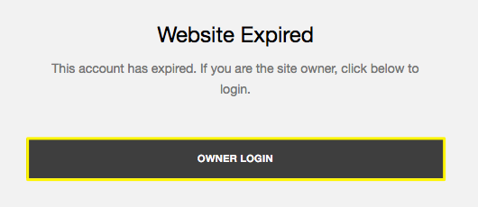 Expired site displays a Website Expired message with an Owner Login button.
