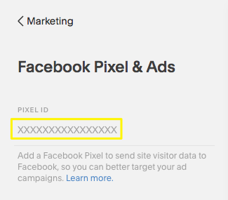 The Pixel ID field where you can enter your pixel ID from Facebook.