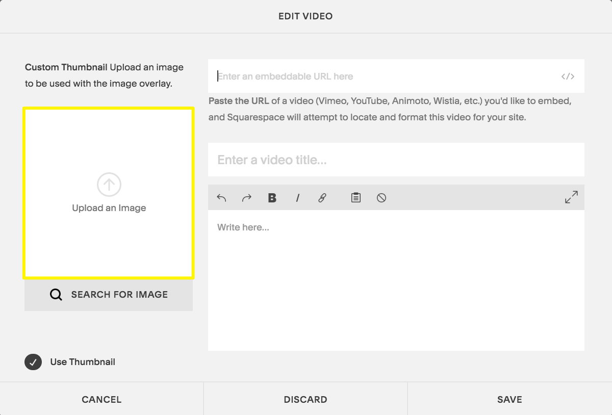 Click Upload an Image in the Edit Video window to add a custom thumbnail image.