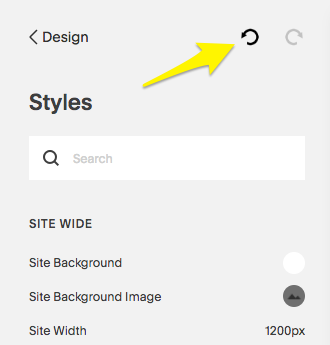 Click the undo icon to undo style changes.