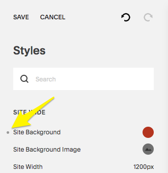 Click the dot next to a style tweak to undo a recent change.