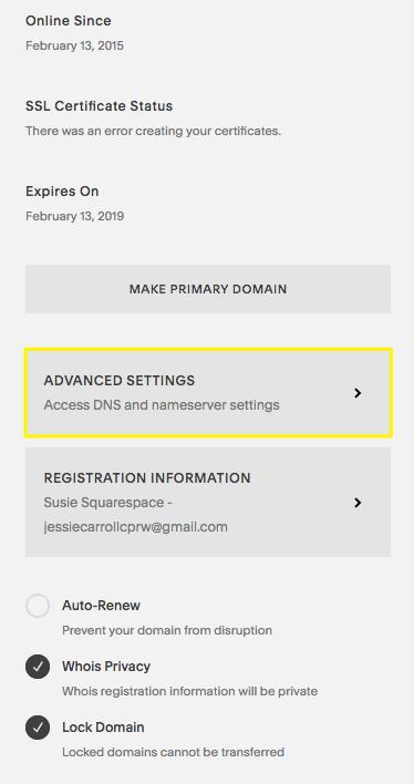 Advanced DNS settings – Squarespace Help