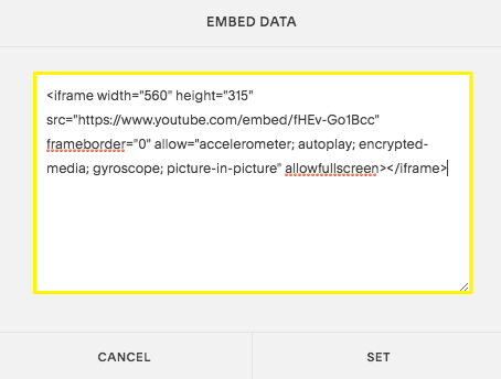 Paste the code into the Embed Data box.