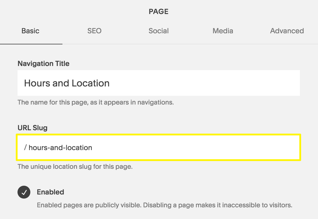 The URL Slug field in the Page Settings.