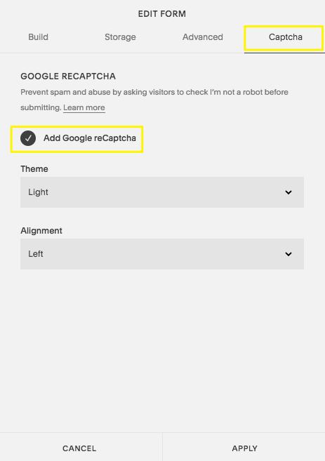 Adding Google reCAPTCHA to Form Blocks – Squarespace Help