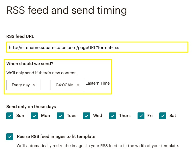 add rss feed and set timing on mailchimp
