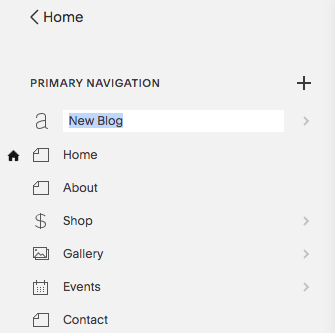 Enter a page title in the text box after creating a new page.