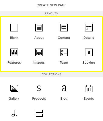 The Layouts section in the Create New Page menu appears for test groups.
