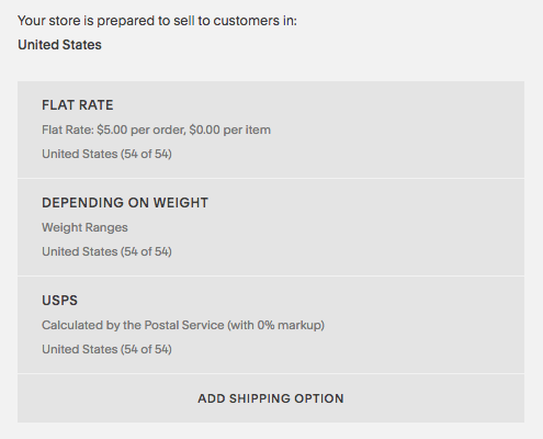 How shipping rates appear in the Shipping panel.