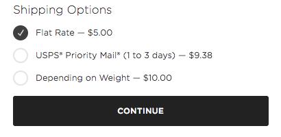 Cómo aparecen las tarifas de envío para los clientes al finalizar la compra.