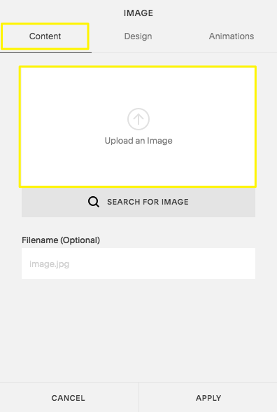 In the Content tab of the Image Block, click Upload an Image to add your own image.