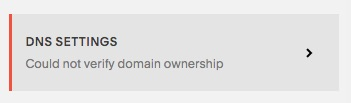 squarespace could not verify domain