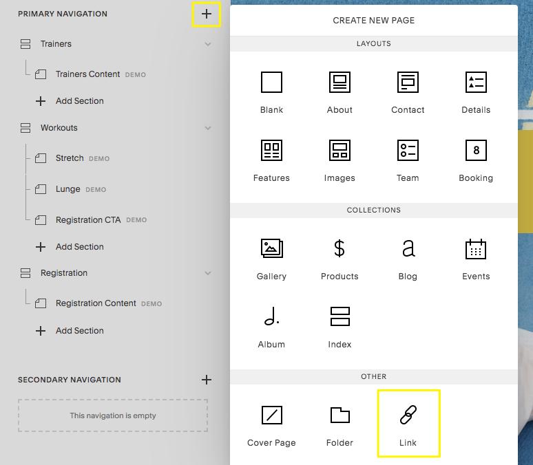 Hinzufügen eines Links zur Website-Navigation im Seiten-Panel.