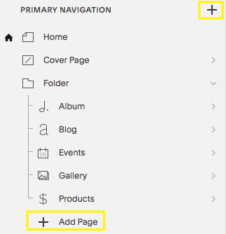 Adding pages to your navigation – Squarespace Help
