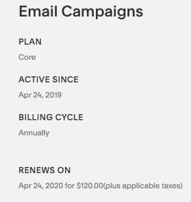 Riquadro Fatturazione di Campagne e-mail