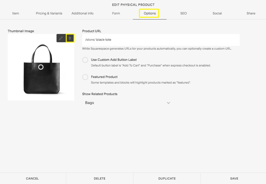 Changing a product's thumbnail image – Squarespace Help