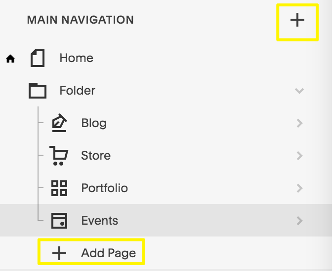 Click the plus icon or Add Page to open the page menu.
