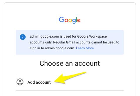 Pulsante aggiungi account per accedere a Google Workspace