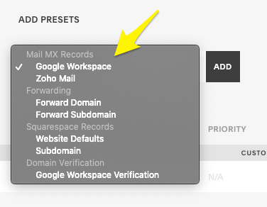 Workspace preset records