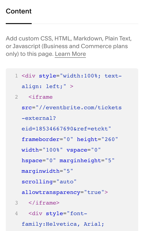 Eventbrite_code_added_to_a_Code_Block.png