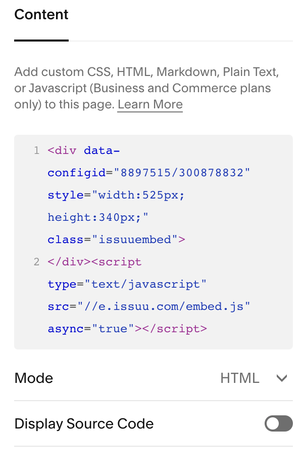 Issuu_code_added_to_a_Code_Block.png