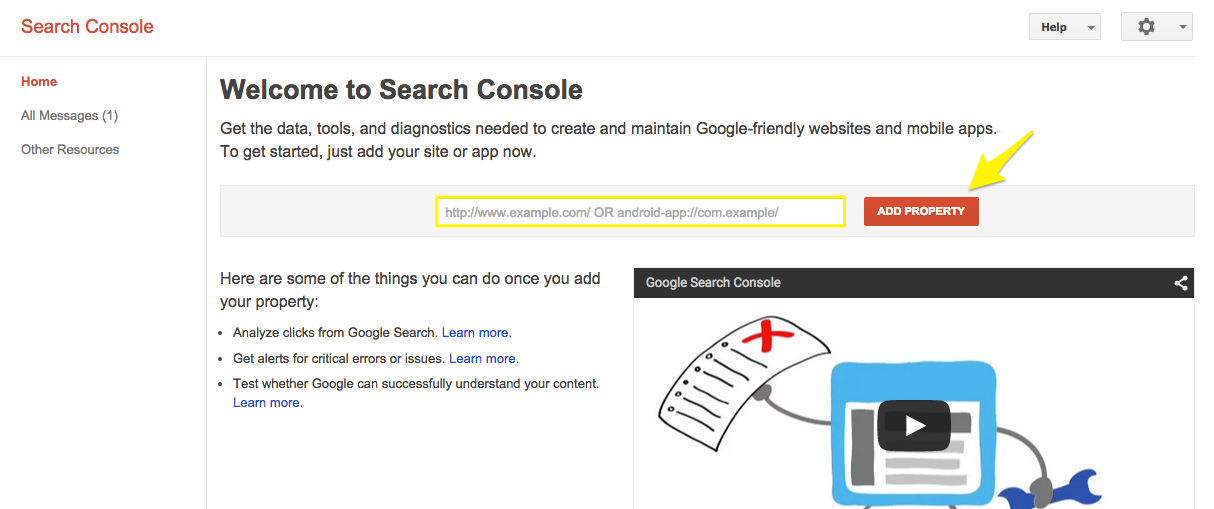 Step 1 - Register for Google Search Console
