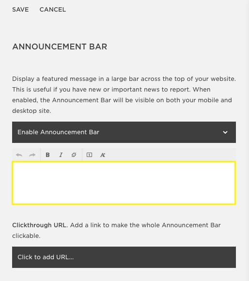 Squarespace Help - Adding an Announcement Bar