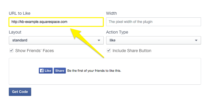 Squarespace help adding a facebook like button enter the width youd like your plugin to be in pixels this will depend on the space of the area where youd like your button to appear facebook pronofoot35fo Gallery