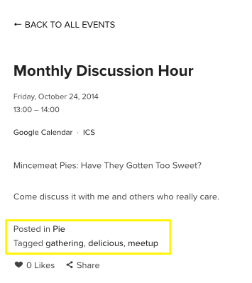 Adding Tags And Categories  Squarespace Help Events
