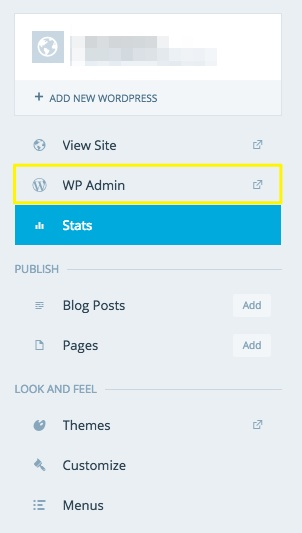 Click WP Admin to open your dashboard.