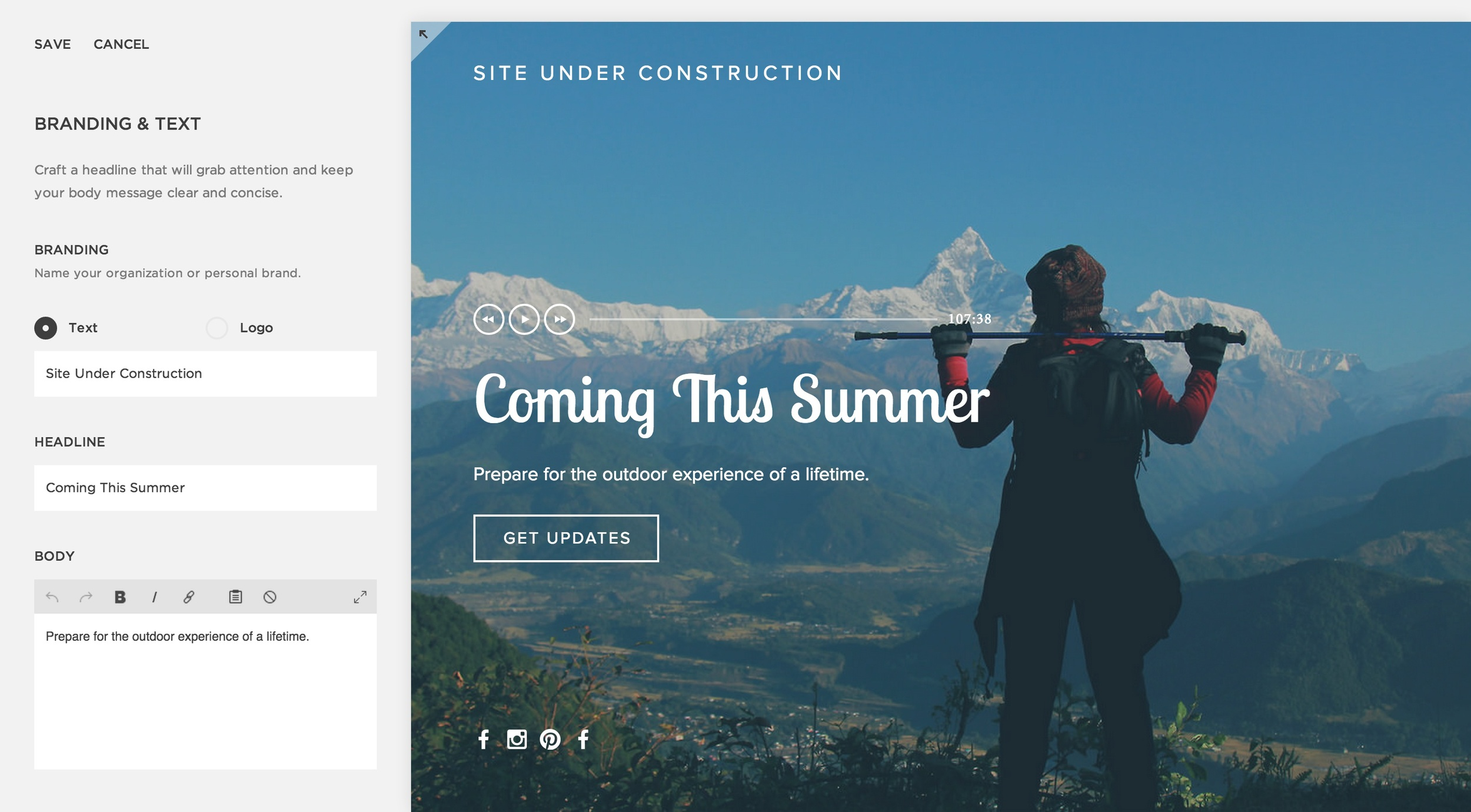 Creating an Under Construction page – Squarespace Help