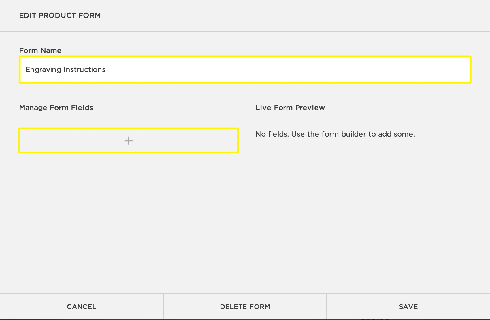 Shop customer account create/downloader - Step 2 Create A New Form