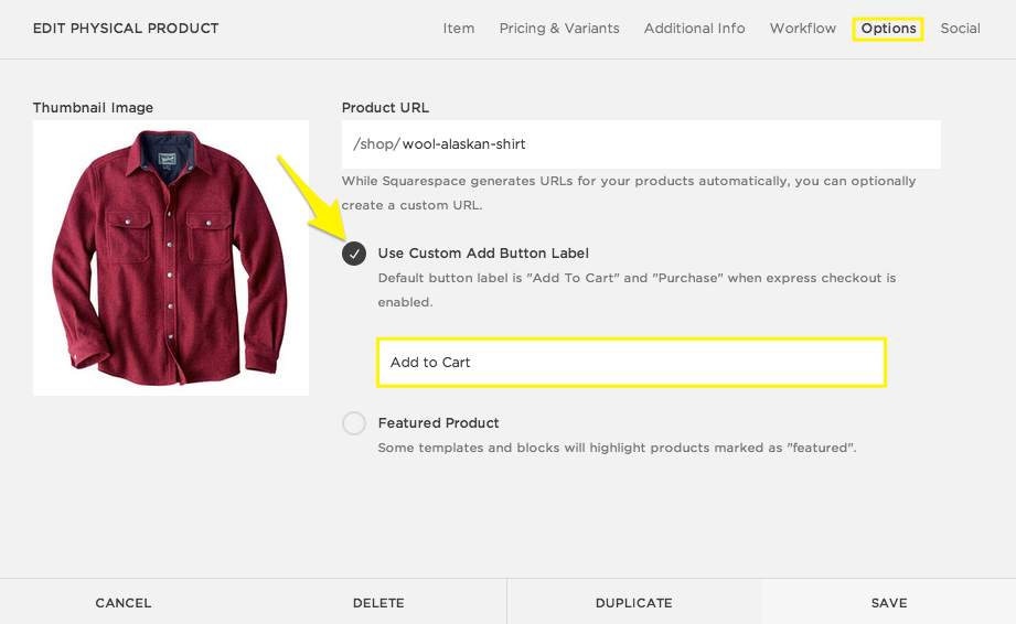 how to add text to product page squarespace