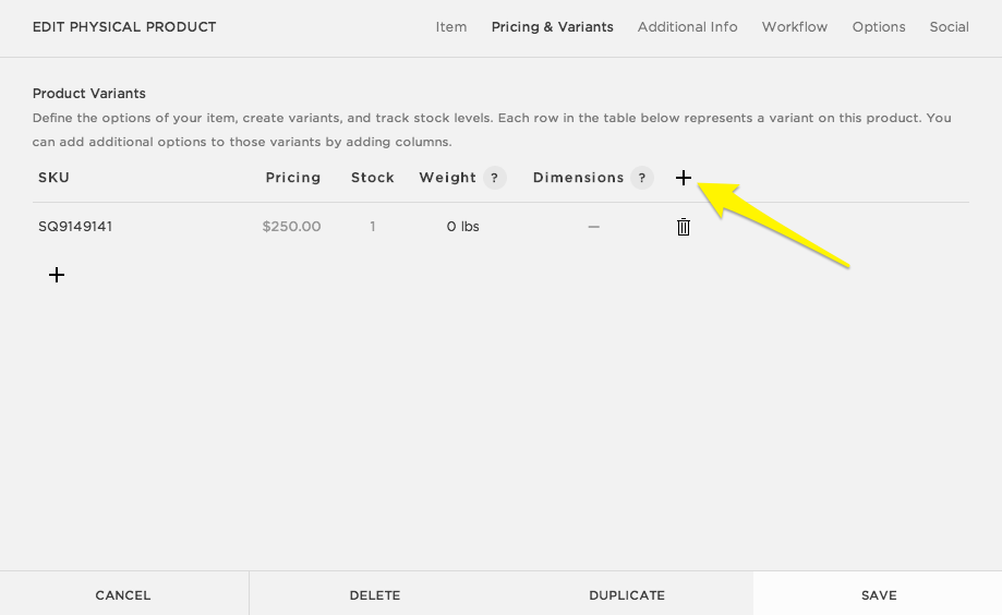 Adding Basic Product Variants Squarespace Help - Invoice to go support